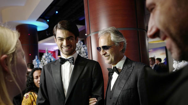 Andrea Bocelli (center) and his son, Matteo, attend the U.K. premiere of Disney's <em>The Nutcracker And The Four Realms</em> on Nov. 1, 2018, in London.