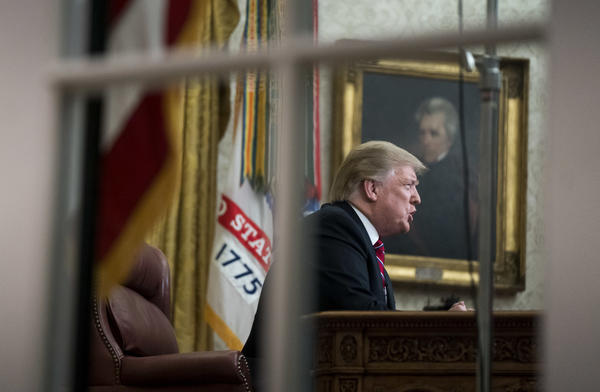 President Trump delivers his first prime-time address from the Oval Office on Tuesday.