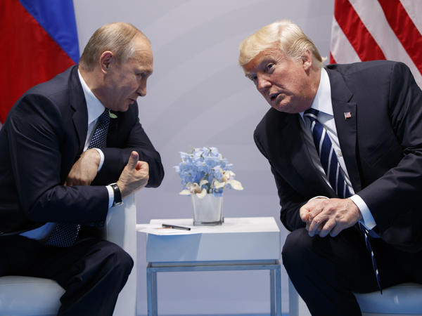 President Trump speaks with Russian President Vladimir Putin at the G20 Summit in Hamburg in July 2017.