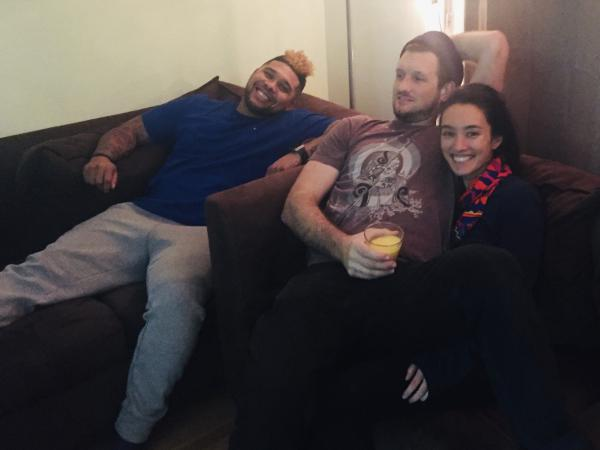 Jason Jones (left) with his roommates Joe Klein and Tamiko Panzella in their Oakland, Calif., apartment. Panzella and Klein are participating in a new program to provide housing to former inmates. Jones was released recently after nearly 14 years in prison.