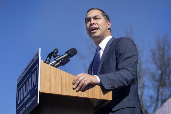 Julián Castro announces he's running for president, in San Antonio on Saturday.