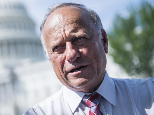Rep. Steve King, R-Iowa, attends a rally with Angel Families on the East Front of the Capitol, to highlight crimes committed by illegal immigrants in the U.S., on September 7, 2018.