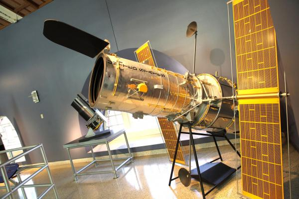 A small replica of the Hubble Space Telescope at the California Science Center in Los Angeles.