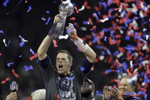 Tom Brady and the Patriots beat the Atlanta Falcons in the Super Bowl two seasons ago. They will return to the Super Bowl, in Atlanta, to face the Los Angeles Rams on Feb. 3. (Darron Cummings/AP)