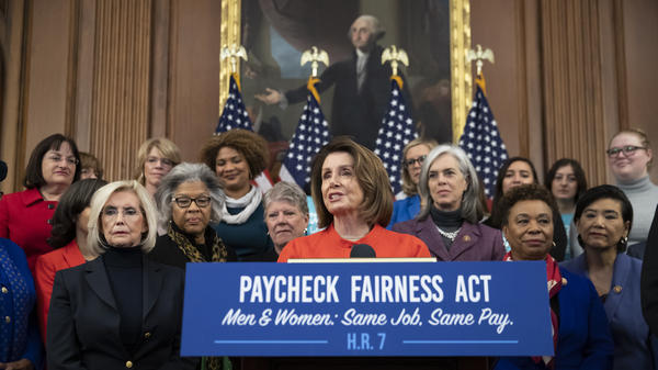 House Speaker Nancy Pelosi, D-Calif., and her colleagues are touting legislation to close the gender pay gap — a proposal they promised to address during the 2018 midterms.
