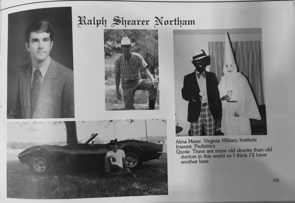 Ralph Northam's page in the 1984 yearbook of Eastern Virginia Medical School in which two people are wearing blackface and a KKK costume.