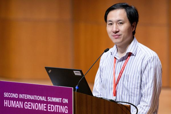 Chinese scientist He Jiankui speaks at a human genome editing summit in Hong Kong on Nov. 28, 2018. He announced an experiment on twins that raised a range of ethical questions and prompted China's government to vow to punish him.