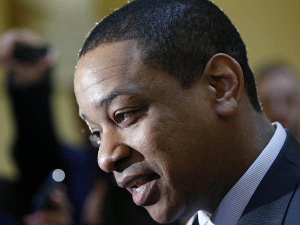 Virginia Lt. Gov. Justin Fairfax speaks to the media in the rotunda at the Capitol in Richmond, Va., on Monday.
