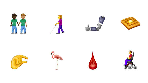 "A selection of the new emoji released by The Unicode Consortium for 2019. Apple proposed more emoji to better represent individuals with disabilities, which includes individuals with wheelchairs, canes, hearings aids and prosthetic limbs. Another highlight includes a new ""people holding hands"" emoji that will let users mix and match different skin tones and genders."