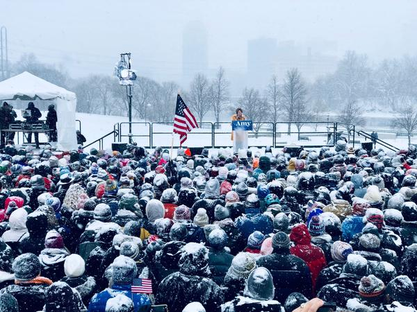 Sen. Amy Klobuchar , D-Minn., announces her candidacy for president during a snow fall on Feb. 10, 2019 in Minneapolis, Minnesota.