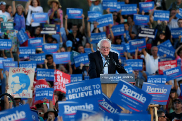 Sen. Bernie Sanders speaks during a campaign rally in June 2016 at Qualcomm Stadium in San Diego, Calif. He launched a second presidential campaign on Tuesday, with a big burst of donations from supporters, but new challenges ahead.