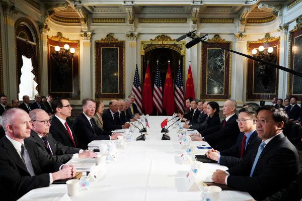 U.S. and Chinese trade negotiators meeting in Washington, D.C. last week. Citing progress in the talks, President Trump said he would suspend a planning increase in tariffs on Chinese goods due to take effect on March 1.