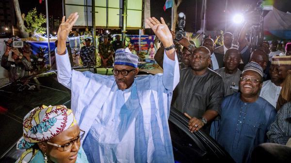 Muhammadu Buhari arrives to speak with his supporters as he was declared the winner of the presidential election in Abuja, Nigeria on Wednesday.