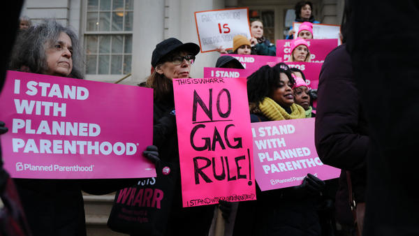 Abortion-rights activists gathered for a news conference in New York City Monday to protest the Trump administration's proposed restrictions on family planning providers. The rule would force any medical provider receiving federal assistance to refuse to promote, refer for, perform or support abortion as a method of family planning.