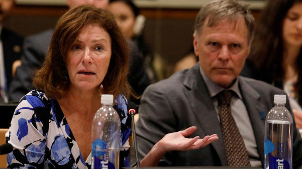 """Cindy and Fred Warmbier, parents of Otto Warmbier, released a statement saying, """"No excuses or lavish praise can change"""" the fact that they hold North Korean leader Kim Jong Un responsible for their son's death. The Warmbiers are seen here at the U.N., where they spoke about human rights last May."""