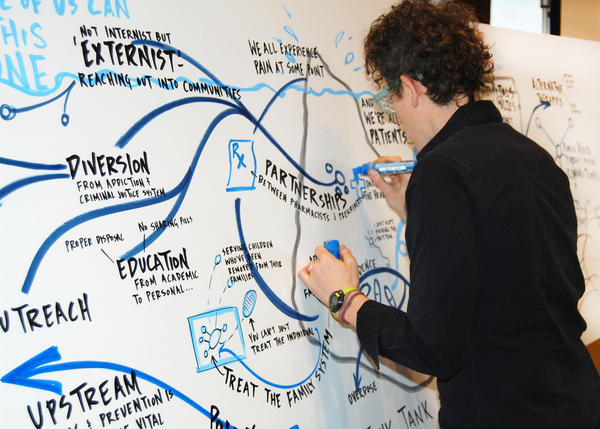 Graphic facilitator Emily Jane Steinberg rendered a visual summary in real time of the conversation at an opioid summit held in Stroud, Okla., in late February.