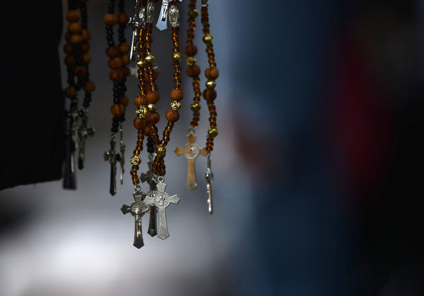 Rosaries are sold by a vendor in Mexico City on Sept. 22, 2017.