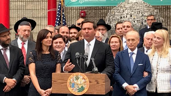 Gov. Ron DeSantis is pictured at an event in South Palm Beach County in February.
