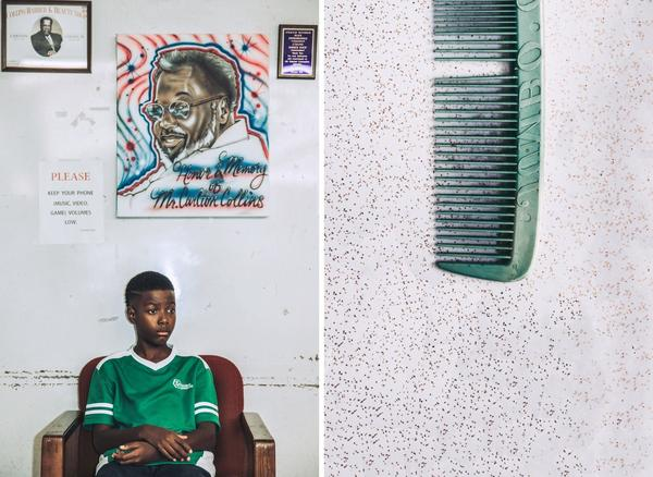 Left: Ga'verri Jones-Collins, Charleston's grandson, 10, sits for a portrait below an air-brush painting of his great grandfather. Right: A comb Carlton and Juanita purchased at South of The Border in South Carolina, while traveling.