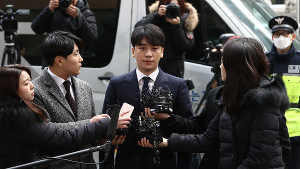 Seungri, photographed as he arrived at the Seoul Metropolitan Police Agency on March 14, 2019. The former pop idol was there to undergo police questioning over charges of supplying prostitution services.