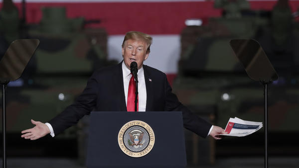 President Trump speaks at Joint Systems Manufacturing Center in Lima, Ohio, on Wednesday. His speech included a five-minute attack on the late Sen. John McCain of Arizona.