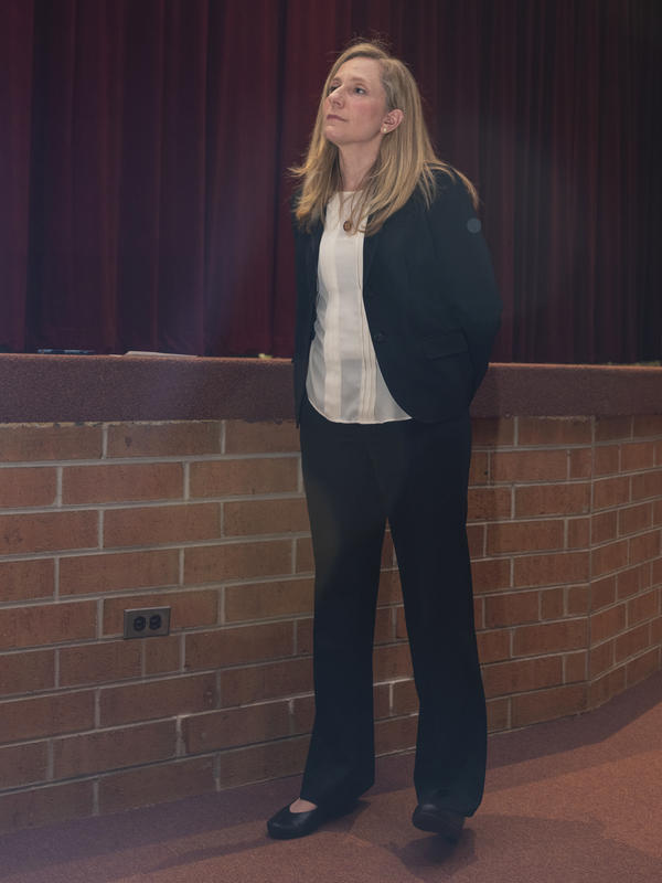 Rep. Abigail Spanberger attends a town hall at Nottoway High School in Crewe, Va. She was one of dozens of new members who ousted Republicans on a pledge to buck party leaders and work across the aisle.