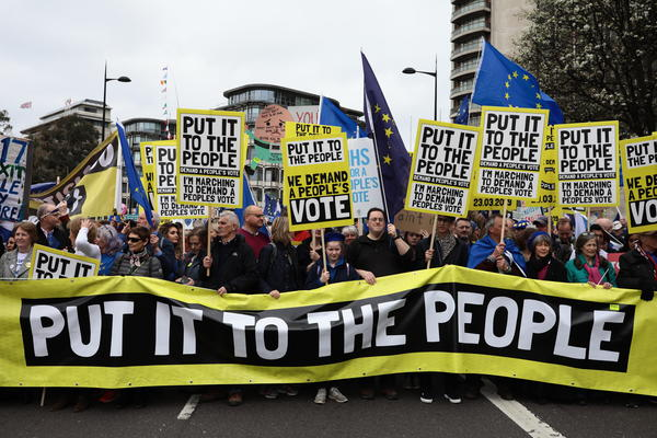 People took to the streets in London on Saturday for the Put It to the People March to call for a second referendum vote on Brexit.