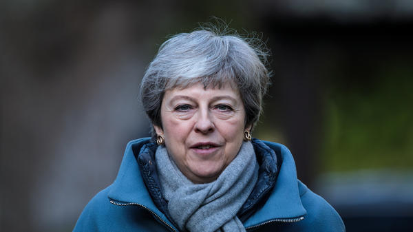 British Prime Minister Theresa May is reportedly facing pressure from within her Conservative Party to quit over her handling of the Brexit process. Here she attends a church service on Sunday in Aylesbury, England.