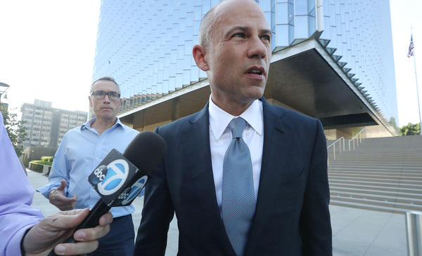 Michael Avenatti, attorney for Stephanie Clifford, speaks to reporters as he leaves the U.S. District Court for the Central District of California on Sept. 24, 2018, in Los Angeles. Avenatti has been arrested on federal bank fraud and wire fraud charges.
