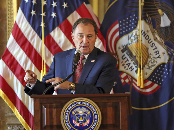 Utah Gov. Gary Herbert speaks during a 2018 news conference in Salt Lake City. On Wednesday, he signed a bill that decriminalized sex outside of marriage.
