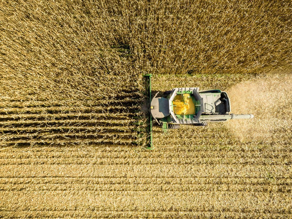 An aerial view of a combine harvesting corn in a field near Jarrettsville, Md. A new study ties an estimated 4,300 premature deaths a year to the air pollution caused by corn production in the U.S.