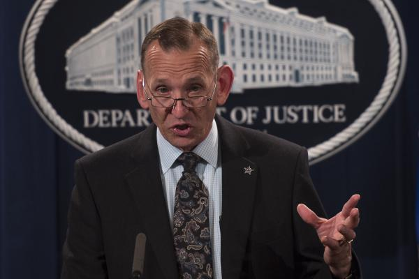 Director of the U.S. Secret Service Randolph Alles speaks at the Justice Department last year. The White House announced on Monday that Alles will be replaced.