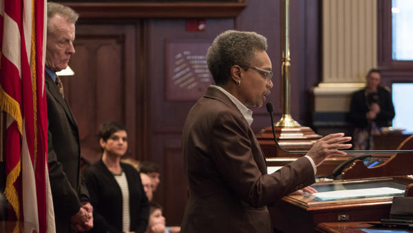 Chicago Mayor-elect Lori Lightfoot addresses the Illinois House of Representatives while Speaker of the House Michael Madigan looks on. The speaker has long defended the interests of the Chicago mayor in the General Assembly.
