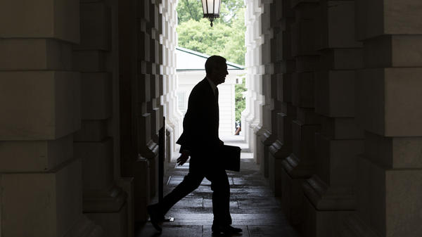 Special counsel Robert Mueller leaves the U.S. Capitol Building following a meeting with the Senate Judiciary Committee in June 2017.