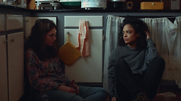 Lily James and Tessa Thompson play sisters struggling to stay afloat in <em>Little Woods.</em>