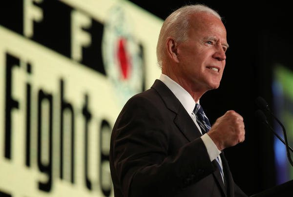 Former Vice President Joe Biden speaks at the International Association of Fire Fighters legislative conference in March. He got into the Democratic presidential nomination fight Thursday.