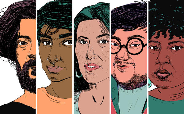 April is National Poetry Month. From left to right, poets: Kaveh Akbar, Fatimah Asghar, Ada Limon, Hieu Minh Nguyen and Ashley M. Jones.