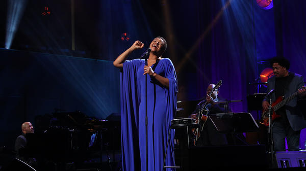 The singer Lizz Wright, performing during the International Jazz Day 2019 All-Star Global Concert at Hamer Hall on April 30, 2019 in Melbourne, Australia.