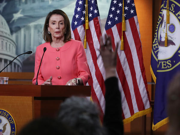 House Speaker Nancy Pelosi, D-Calif., speaks during her weekly news conference on Capitol Hill in Washington, D.C., on Thursday. Among the topics discussed were Attorney General William Barr's failure to appear before the House Judiciary Committee to discuss the special counsel report on Russia's interference in the 2016 election.