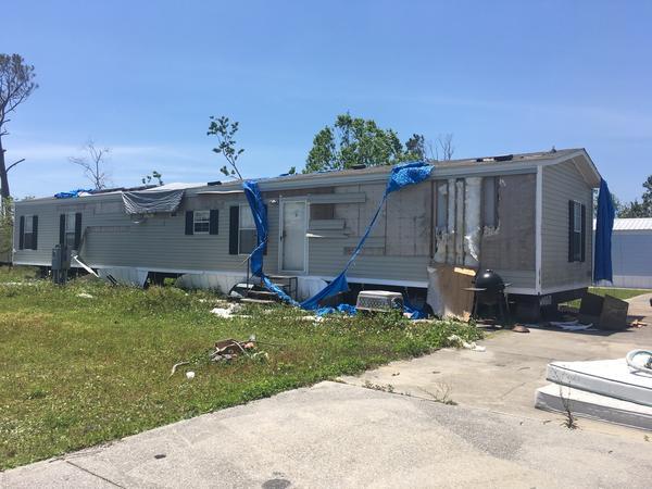 A ravaged trailer home