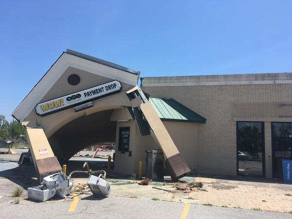 A fallen building