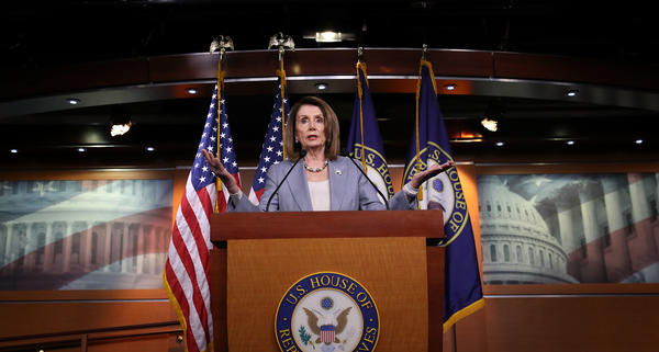Speaker of the House Nancy Pelosi, D-Calif., answers questions during a press conference at the Capitol on Thursday. The House is expected to vote on whether to hold Attorney General William Barr in contempt of Congress.