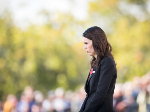New Zealand Prime Minister Jacinda Ardern is calling on governments and tech companies to do more to prevent livestreaming of terrorist attacks and the spread of such videos online. Ardern is seen here laying a wreath at the Auckland War Memorial Museum in Auckland last month.