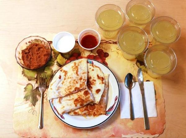 An example of one of the study's ultra-processed lunches consists of quesadillas, refried beans and diet lemonade. Participants on this diet ate an average of 508 calories more per day and gained an average of 2 pounds over two weeks.
