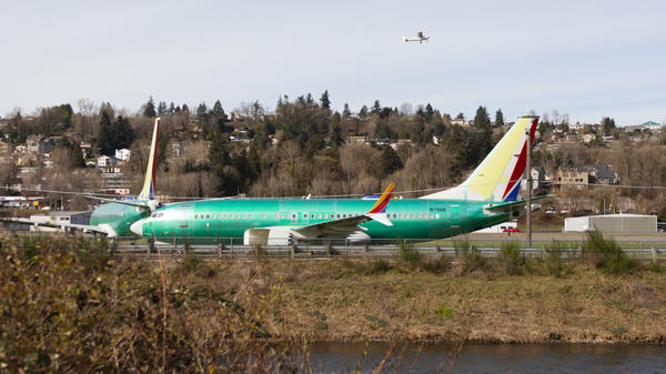 Boeing 737 Max aircraft are seen March 27 at Renton Municipal Airport in Renton, Wash.
