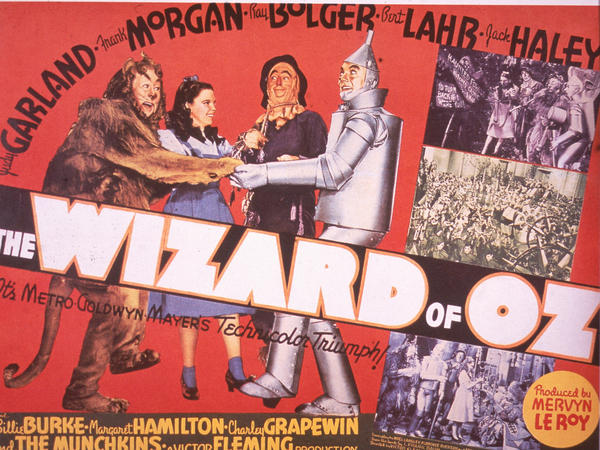 """A promotional poster for the 1939 film <em>The Wizard of Oz</em>."""" Harold Arlen's song """"Over the Rainbow"""" for this film won an Oscar for Best Original Song."""