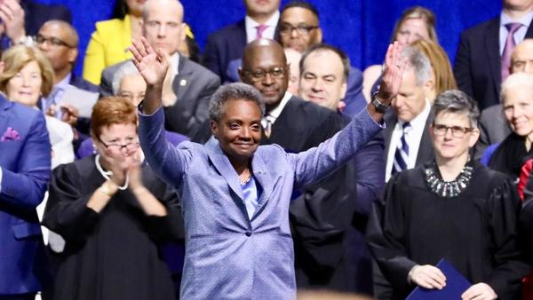 Lori Lightfoot, who won a landslide victory in Chicago's runoff election, was sworn in as mayor on Monday.