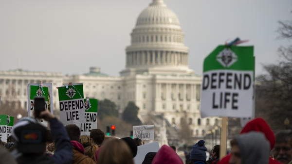 "Students and activists carry signs during the annual ""March for Life"" in Washington, D.C., earlier this year."