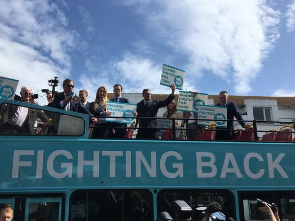 Nigel Farage (left, with megaphone), leader of the new Brexit Party, which went into Thursday's European elections ahead in the opinion polls, addresses crowds in Clacton-on-Sea, England, last month. Farage routinely excoriates the European Union in his stump speeches.