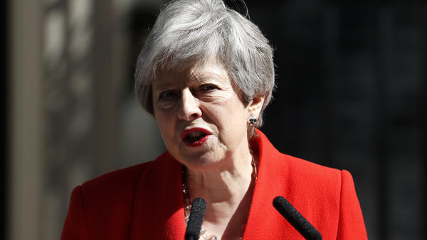 British Prime Minister Theresa May announces her resignation Friday at No. 10 Downing St. in London.